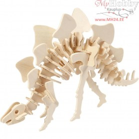 3D Wood Construction Kit with APP, Stegosaurus, H: 15 cm, L: 27 cm, plywood, 1pc, W: 7,4 cm