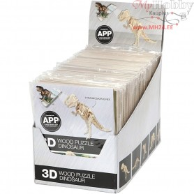 3D Wood Construction Kit with APP, H: 11,5-22 cm, plywood, 48pcs