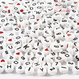 Letter Beads, size 7 mm, hole size 1,2 mm, white, 200g, approx. 1500 pc