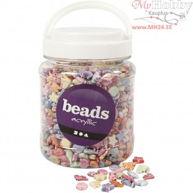 Pastel Mix, size 9-12 mm, hole size 1,2 mm, pastel colours, 500 g, 700ml, approx. 1600 pc