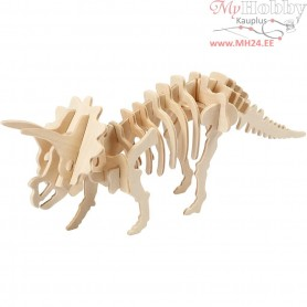 3D Wood Construction Kit with APP, Triceratops, H: 11,5 cm, L: 31 cm, plywood, 1pc, W: 7,5 cm