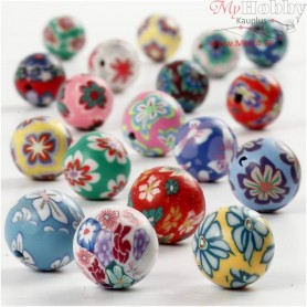 Clay Beads, D: 10 mm, hole size 1 mm, asstd colours, 40mixed