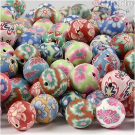 Clay Beads, D: 10 mm, hole size 1 mm, asstd colours, 200mixed