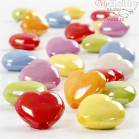 Heart Beads, size 25x15 mm, hole size 3 mm, 70 g, 125ml