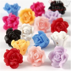 Clay Roses, D: 16x10 mm, hole size 0,5 mm, asstd colours, 16mixed
