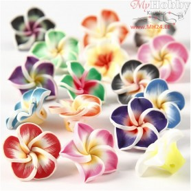 Clay Flowers, D: 25 mm, hole size 0,5 mm, asstd colours, 16mixed