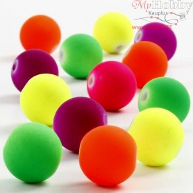 Neon Beads, D: 12 mm, hole size 2 mm, 50g, approx. 50  pc