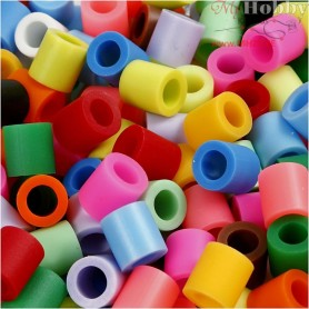 Fuse Beads, size 10x10 mm, hole size 5,5 mm, additional colours, jumbo, 3200mixed