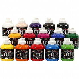 "Acrylic Paint ""A-Color"" 01 - glossy, asstd colours 15x500ml"