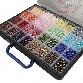 Luxury Wax Beads, hole size 1,5-2 mm, incl. Storage Box with 32 boxes, 32x20g