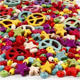 Howlite Beads, size 4-25 mm, hole size 1,5 mm, bold colours, 840pcs