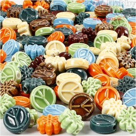 Ceramic Beads, size 7x15 mm, hole size 2 mm, 224pcs