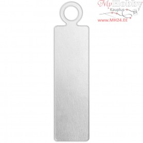 Metal Tag, size 20x5 mm, thickness 1,3 mm, aluminum, Rectangle, 20pcs, hole size 1,9 mm
