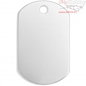 Metal Tag, size 30x20 mm, thickness 1,3 mm, aluminum, Square, 13pcs, hole size 2,85 mm
