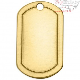 Metal Tag, size 32x20 mm, thickness 1 mm, brass, Square, 4pcs, hole size 2,85 mm
