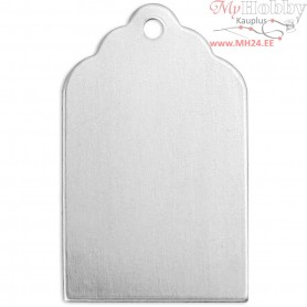 Metal Tag, size 20x10 mm, thickness 0,8 mm, aluminum, Square, 20pcs, hole size 1,13 mm