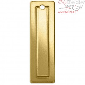 Metal Tag, size 45x11 mm, thickness 1 mm, brass, Rectangle, 4pcs, hole size 2,05 mm