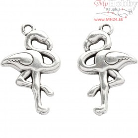 Jewellery Pendant, H: 30 mm, W: 18 mm, silver-plated, 2pcs, hole size 2 mm