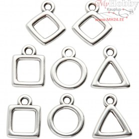 Jewellery Pendant, L: 12 mm, W: 12 mm, silver-plated, 8pcs, hole size 2 mm