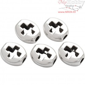 Metal Beads, L: 8 mm, W: 7 mm, silver-plated, 5pcs, hole size 2 mm