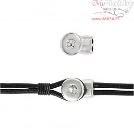 Jewelery Clasp, L: 20 mm, W: 10 mm, silver-plated, 1pc, hole size 3 mm