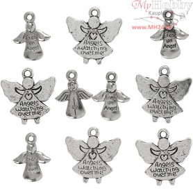Angels with loop, D: 16-19 mm, hole size 1,5 mm, antique silver, 10mixed