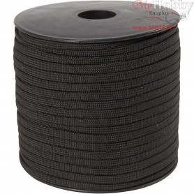 Polyester Cord, W: 5 mm, black, 50m