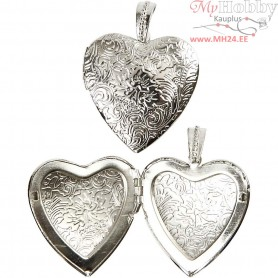 Pendant, D: 40 mm, silver-plated, Big Heart, 1pc