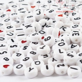 Letter Beads, size 7 mm, hole size 1,2 mm, white, 25g, approx. 200 pc