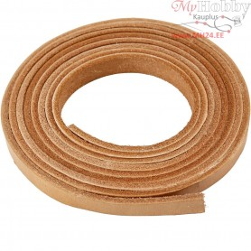 Leather band, W: 10 mm, thickness 3 mm, natural, 2m