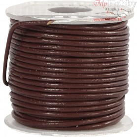 Leather Cord, thickness 1 mm, brown, 10m