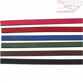 Faux Leather Belt, W: 10 mm, thickness 3 mm, asstd colours, 6x1m