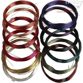 Soft Jewellery Wire - Assortment, thickness 0,5 mm, asstd colours, 12x8m