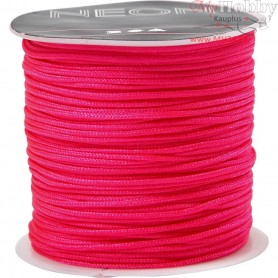 Polyester Cord, thickness 1 mm, neon pink, 28m