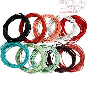 Leather Cord Assortment, thickness 1 mm, asstd colours, 10x3m