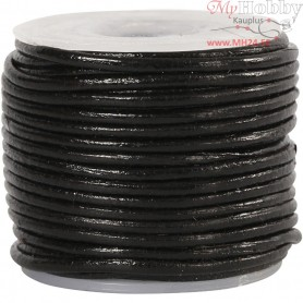 Leather Cord, thickness 1 mm, black, 10m