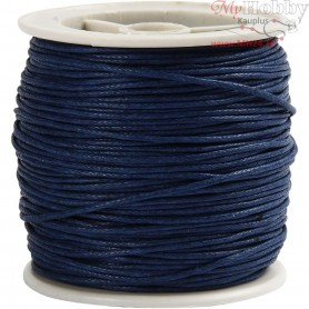 Cotton Cord,  1 mm, blue, 40m