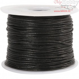 Leather Cord, thickness 1 mm, black, 50m