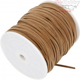 Faux suede cord,  3 mm, light brown, 100m