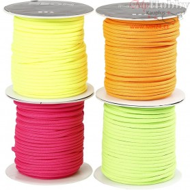Polyester Cord, thickness 4 mm, neon colours, 4x40m