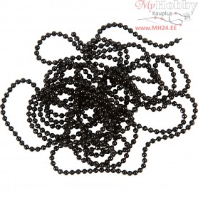 Bead Chain, D: 1,5 mm, black, 1,5m