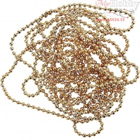 Bead Chain, D: 1,5 mm, gold-plated, 1,5m