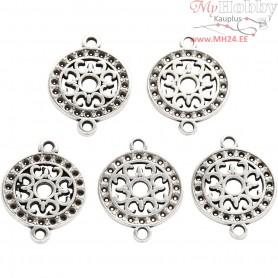 Jewellery Pendant, D: 14 mm, hole size 1,2 mm, silver-plated, 5pcs