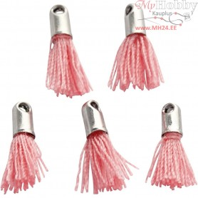 Cotton Tassel, L: 10 mm, hole size 1 mm, light red, 5pcs