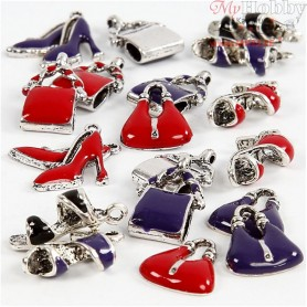 Charms with loop, size 12-20 mm, hole size 1-3 mm, purple, silver-plated, red, black, shoes and bags, 20mixed
