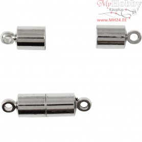 Magnetic Clasp, D: 5 mm, L: 17 mm, silver-plated, 10pcs