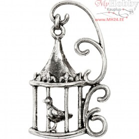 Birdcage, H: 35 mm, hole size 1 mm, antique silver, 6pcs