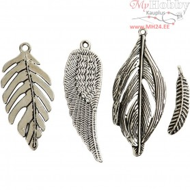 Feather, D: 29-55 mm, hole size  12-20 mm, antique silver, 40mixed