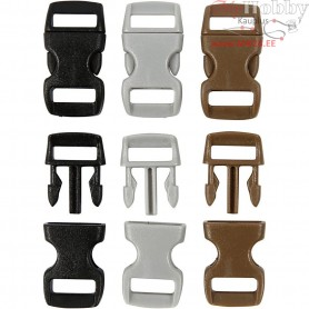 Click Clasp, W: 15 mm, L: 29 mm, brown, grey, black, 100mixed, hole size 3x11 mm