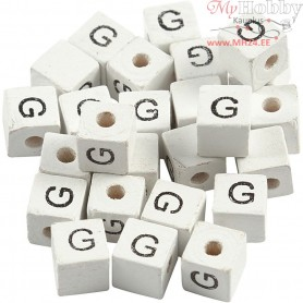 Letter Bead, size 8x8 mm, hole size 3 mm, white, grass wood, G, 25pcs